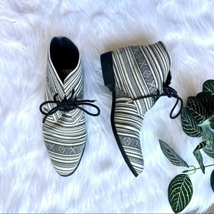 Forever 21 Black and White Tribal Lace Up Booties